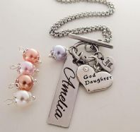 Goddaughter Swarovski Pearl Personalized Necklace - Boxed